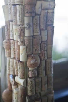 Tiki Bar Beams Wrapped in Wine Corks - Hideaway Tiki Bar, Cedar Key Florida