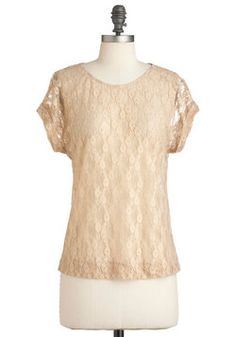 Down by the Beige Top- a beautiful floral lace pattern, and you can dress it up or down.