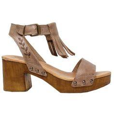 Ankle Strap Fringe Sandal with leaf imprints for subtle detailing. All leather…