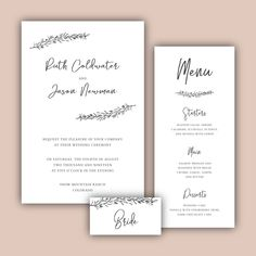 Minimalist wedding invitation and menu vector free download 069 stopboris Image collections