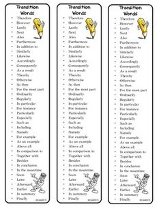 Freebie: Transition Words Bookmarks