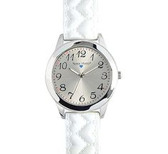 """Nurse Mates Bumpy Heart Strap Watch-White. This is a jumbo face watch with a bumpy heart design silicone strap. Military time and water resistant construction. 1 5/8"""" case size. Battery SR626SW included. Fits wrist size 5 1/2"""" - 8""""."""