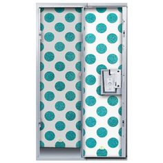 Kick Boring Lockers to the Curb with These Hot Looks: Locker Lookz Teal Polka Dot Locker Wallpaper.