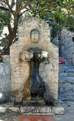 Eze ~ The only fountain in the village, built in 1930. Provence Alpes