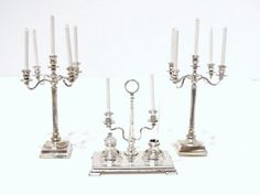 Alex Rothwell - 2 five-arm candelabras and desk set with ink well and ink pot, all in silver plate. desk set is Georgian style.
