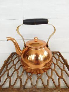 Vintage Nasco Copper Tea Kettle, Stove Top Kettle, Vintage Kitchen, Farmhouse…