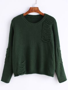 Long Sleeve Ripped Green Sweater Mobile Site