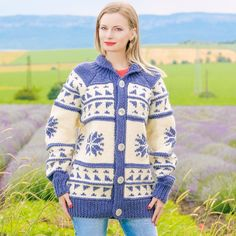 BLUE IVORY Hand Knitted Sweater Cardigan Fuzzy Cowichan Jacket by SUPERTANYA #SuperTanya #Cardigan