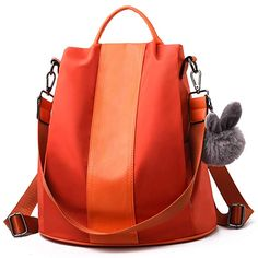 Amazon.com: Charmore Women Backpack Purse Waterproof Nylon Schoolbags Anti-theft Rucksack Shoulder Bags: Gateway Nylons, Sling Backpack Purse, Orange Purse, Waterproof Backpack, Girl Backpacks, Orange Backpacks, Girls Bags, School Bags, Fashion Bags