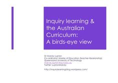 Dr Mandy Lupton, keynote at ASLA XXIII Biennial Conference - This presentation examines how inquiry learning is portrayed in the Australian Curriculum. Problem Based Learning, Inquiry Based Learning, Learning Resources, Primary Teaching, Teaching Ideas, Primary School, Educational Theories, Information Literacy, Research Skills