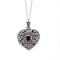 Women's Silver Necklace by Lily Blanche Vintage Garnet Heart Locket (10.920 RUB) ❤ liked on Polyvore featuring jewelry, necklaces, jewels, heart locket necklace, silver necklace, vintage lockets, heart shaped locket necklace and vintage necklaces