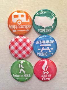Set of 6 Picnic & Camping Scrapbooking Flat Back  Craft Badges