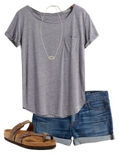 """Untitled #85"" by hannahmae24 ❤ liked on Polyvore featuring J.Crew, Birkenstock and Kendra Scott"