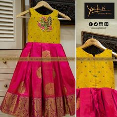 Kanchipattu gown with raw silk body embellished with peacock cut beads motif.Like this single dress with same combination.Image may contain: people standing Kids Party Wear Dresses, Kids Dress Wear, Kids Gown, Dresses Kids Girl, Kids Wear, Children Wear, Baby Dresses, Indian Dresses For Kids, Kids Indian Wear