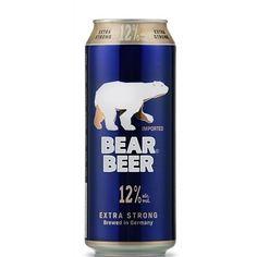 Cerveja Bear Beer Extra Strong, estilo Malt Liquor, produzida por Harboes Bryggeri, Dinamarca. 12% ABV de álcool.