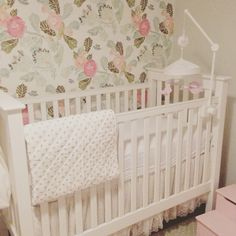 Baby girl nursery with anthropologie wallpaper!