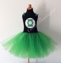 Vestido de superhéroe. Tema de linterna verde. por LisasTutus