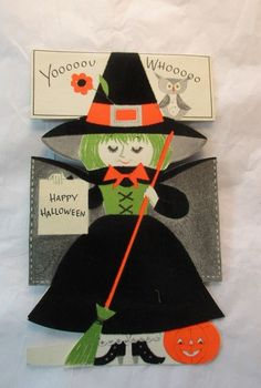 Vintage  BUZZA Flocked WITCH Black Dress  Happy HALLOWEEN Greeting CARD Stand-up
