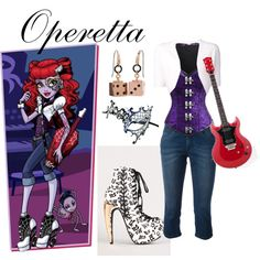 A fashion look from December 2014 featuring shrug cardigan, patch jeans and womens costumes. Browse and shop related looks. Cute Emo Outfits, Casual Outfits, Monster High Clothes, Fashion Design Drawings, Casual Cosplay, Alternative Outfits, School Fashion, Style Inspiration, Inspired Outfits