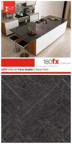 An elegant marble of intense gray, revived by strong white veins Formica® 180fx® 9483-90 Ferro Grafite in Gloss finish is great in kitchens and bathrooms.