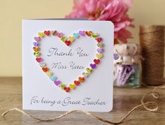 Handmade 3D 'Thank You for Being a Great Teacher' Card - Personalised with your Teacher's Name, Thankyou, School Teaching Assistant BHE10a by CardsbyGaynor on Etsy