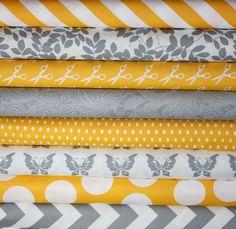 Half Moon Modern Yellow and Gray fabric bundle by Moda.