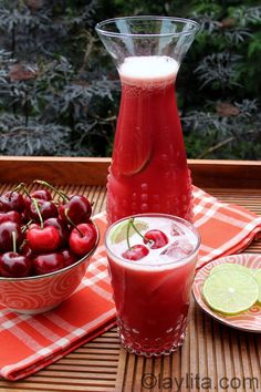 Cherry limeade recipe  3 C. Cherries, pitted; 2 limes, quartered, peel on; 6 C. Water; 1/2-3/4 C. Sugar, honey, or favorite sweetener; Ice; Garnish with cherries or lime slices