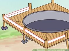 How to Build a Deck Around an Above Ground Pool. When you build a deck around an above-ground pool, you instantly increase the value, attractiveness and functionality of your. Above Ground Pool Steps, Above Ground Pool Landscaping, In Ground Pools, Backyard Landscaping, Landscaping Ideas, Pool Deck Plans, Deck Building Plans, Swimming Pool Decks, My Pool
