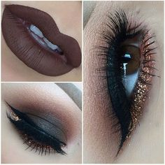 Love the eye makeup, would probably do more of a dark purple lip than a brown one though