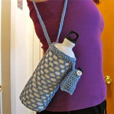 Crochet Water Bottle Carrier with Lip Balm Pouch / Blue White Peach Purple / The Watergirl. 25.00, via Etsy.