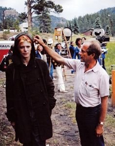 David Bowie and Nicolas Roeg on the set of The Man Who Fell To Earth.