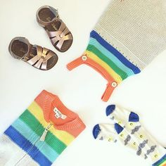 Welcome to the month of #rainbows! Love is all around. 🌈 ❤️🌈❤️🌈 IGGY romper, TUNES socks, INDIE cardigan, @saltwatersandals_europe baby sandals    Repinned by www.thebonniemob.com : British designed unisex baby and kids fashion clothing brand for stylish little ones. The bonnie mob ship worldwide from the UK.  #babyclothes #babystyle #babyfashionista #fashionbaby #babywear #babystyles