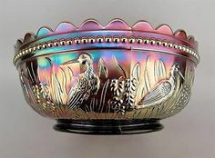 """STORK & RUSHES by DUGAN ~ SCARCE AMETHYST CARNIVAL GLASS 9"""" MASTER BERRY BOWL"""