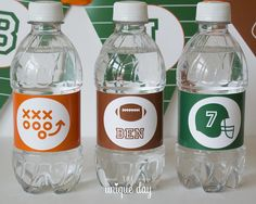 Football Birthday Water Bottle Labels  Football by theuniqueday