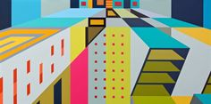 Buy UTOPIA [Diptych], a Acrylic on Wood by JESSUS HERNANDEZ from United States. It portrays: Geometric, relevant to: utopia, diptych, bright colors, Los Angeles, contemporary, midcentury, color block, architectural, Jessus Hernandez, linear, modern Edges painted white. No framing needed. Hanging hardware included.