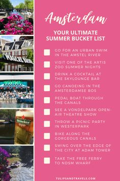 Summer 2019 is around the corner and I still consider myself such a lucky girl that I get to spend it in Amsterdam. This gorgeous city is worth a visit all throughout the year but especially fun in the summertime. How many things can you cross off this Amsterdam Summer Bucket List? #amterdam #bucketlist #bucketlistchallenge #travel #netherlands #summer Bucket List Movie, Summer Bucket Lists, Amsterdam Travel Guide, Amsterdam Trip, Open Air Theater, List Challenges, Fun Summer Activities, Lucky Girl, Cool Places To Visit