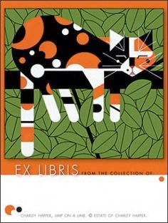 """limp on a limb"" bookplate of a calico cat, art by charley harper"