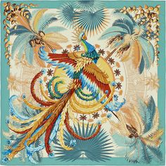 "Hermes ""Mythiques Phoenix"" silk scarf by Laurence Bourthoumieux, green, in pristine condition. Shop authentic Hermes Scarves at Madison Avenue Couture. Art Chinois, Silk Scarves, Hermes Scarves, Summer Quilts, Art Japonais, Designer Scarves, Scarf Design, Vintage Scarf, Fashion Prints"