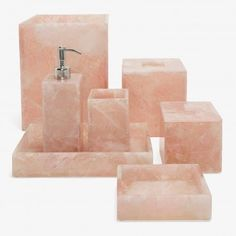 Smell the roses. Handcrafted from rose quartz, bath accessories are hand cut by skilled artisans in Jaipur. Designed locally in Long Island City, each will feature unique stone variations. Explore our curation of Mike + Ally bath accessories.