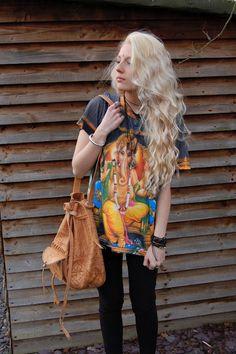 T-shirt: hippie bohemian indian summer religious religion boho yellow blue red bag shirt