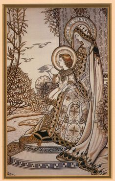 Madonna and Child – Loreto Embroideries – Vintage Catholic Art Print – Archival Quality Madonna Und Kind, Madonna And Child, Religious Icons, Religious Art, Vintage Holy Cards, Religion Catolica, Blessed Mother Mary, Mary And Jesus, Brazilian Embroidery