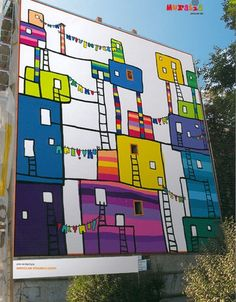 A great wall project, each student gets a building to decorate - maybe hallway to add interest to a boring wall - this is in Wrocław, Poland 3d Street Art, Urban Street Art, Murals Street Art, Art Mural, Street Artists, Banksy, Land Art, Graffiti Art, Mr Brainwash