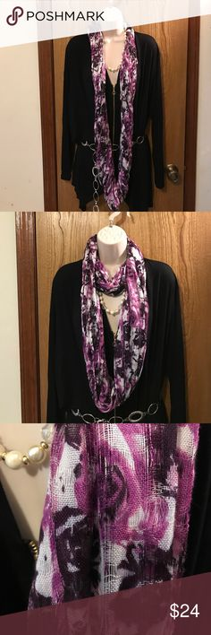 Rose Wrap Scraf Purple Black White ☝🏻😍💐🎁 Rose Wrap Scraf Purple Black White ☝🏻😍💐🎁 this is the most gorgeous colors of a scarf I've ever seen very very beautiful brand-new never used. Comes from a non-smoking home pet free. Would look great with a long skirt or bluejeans. Do you have any questions please ask. I ship Monday Wednesday Friday. charming Charlie's Accessories Scarves & Wraps