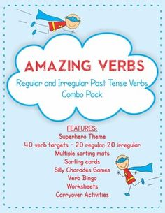 Amazing Verbs - Regular and Irregular Past Tense Verbs pack - games, worksheets, speech therapy. Repinned by SOS Inc. Resources pinterest.com/sostherapy/.