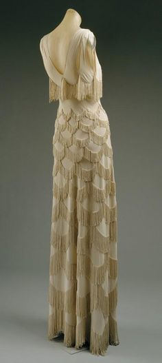 1930's Nightgowns Honeymoon | Wedding - Vintage Evening Dress ♥ 1920's Style Fringe Wedding Dress