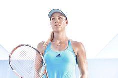 World No.1 Angelique Kerber's ocean blue tank for the 2017 Australian Open #adidas #tennisfashion