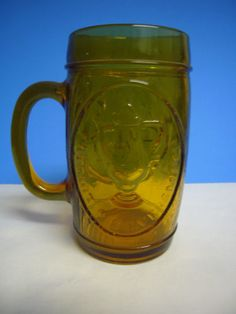 Amber Glass Paul Revere Celebrated Mug Patriot Silversmith Cup Glass Stein