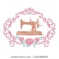 sewing machine in frame roses Tag Png, Sewing Machine Drawing, Arte Fashion, Sewing Cards, Cartoon Pics, Cartoon Wallpaper, Creative Cards, Business Logo, Leather Craft