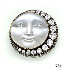 ✯ Moonstone Cameo, Diamond, Silver and Gold Man in the Moon Brooch ✯