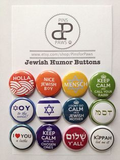 12 Jewish Humor Pinback Buttons Barker look what I found! Jewish Humor, Jewish Crafts, Hebrew School, Jewish Girl, Menorah, Judaism, Paper Cards, Pinback Buttons, Hanukkah